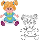 Coloring book. Girl doll toy. Vector illustration on white background Stock Photography