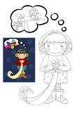 Coloring book with girl dreaming about christmas g Royalty Free Stock Photo