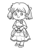 Coloring book, girl in a dress. Coloring book for children, girl in a dress Stock Photo