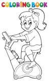Coloring book girl exercising 2. Eps10 vector illustration Stock Photos