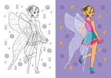 Coloring Book Of Girl In Fairy Costume Royalty Free Stock Image