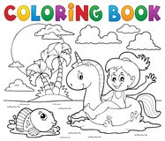 Coloring book girl floating on unicorn 2. Eps10 vector illustration stock illustration