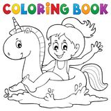 Coloring book girl floating on unicorn 1. Eps10 vector illustration stock illustration