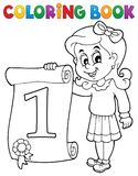 Coloring book girl holds certificate Royalty Free Stock Photos
