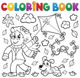 Coloring book with girl and kite Stock Photos