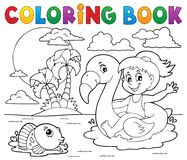 Free Coloring Book Girl On Flamingo Float 2 Stock Images - 117866464