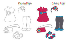 Coloring Book Girl Outfit Royalty Free Stock Images