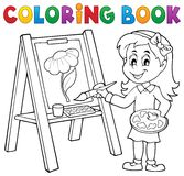 Coloring book girl painting on canvas. Eps10 vector illustration stock illustration