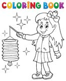 Coloring book girl with paper lantern. Eps10 vector illustration Stock Image
