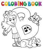 Coloring book girl and pets by letter B. Eps10 vector illustration royalty free illustration