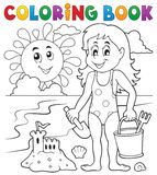 Coloring book girl playing on beach 1 Stock Photo
