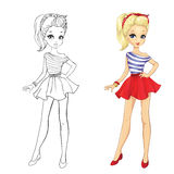 Coloring Book Of Girl In Red Skirt Royalty Free Stock Photos