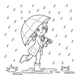 Coloring book. Girl running with an umbrella in the rain Royalty Free Stock Image