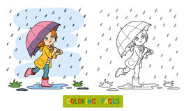 Coloring book. Girl running with an umbrella in the rain. Coloring book for children. Girl running with an umbrella in the rain Stock Images