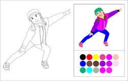 Coloring book: girl in a sports suit Stock Photography