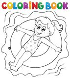 Coloring book girl on swim ring Stock Images