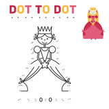 Coloring book for girls Princess. Game connect the. Dots. vector Stock Photo