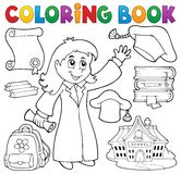 Coloring book graduation theme 2 Royalty Free Stock Images