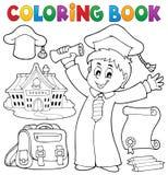 Coloring book graduation theme 1 Royalty Free Stock Photo