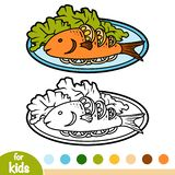 Coloring book, Grilled fish on plate. Coloring book for children, Grilled fish on plate stock illustration