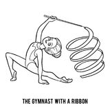 Coloring book, The gymnast with a ribbon. Coloring book for children, The gymnast with a ribbon Stock Photography