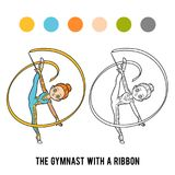 Coloring book, The gymnast with a ribbon. Coloring book for children, The gymnast with a ribbon Stock Photos