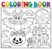 Coloring book Halloween bat theme 2 royalty free illustration