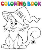 Coloring book Halloween cat theme 2 Royalty Free Stock Photo