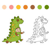Coloring book: Halloween characters (dinosaur costume) Stock Images