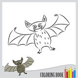 Coloring book. Halloween flying bat with funny face (vector Stock Images