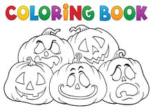 Coloring book Halloween pumpkins pile 1 vector illustration
