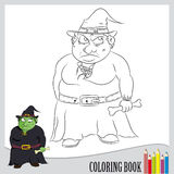 Coloring book. Hallowen ugly witch holding bone Stock Images