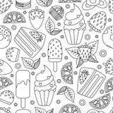 Coloring book hand drawn outline artwork page vector illustration. Coloringbook children learning kindergarten activity worksheets dessert doodle. Textile stock illustration