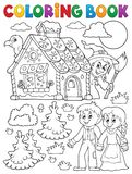 Coloring book Hansel and Gretel 1 Stock Photos