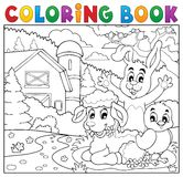 Coloring book happy animals near farm Royalty Free Stock Photos