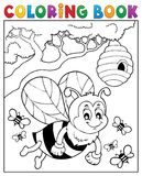 Coloring book happy bee theme 2 Stock Photo