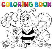 Coloring book happy bee theme 4 Royalty Free Stock Image