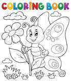 Coloring book happy butterfly topic 4 Stock Photo