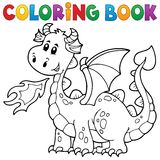 Coloring book with happy dragon Stock Photography