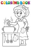 Coloring book happy female cook. Eps10 vector illustration Royalty Free Stock Photos