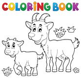 Coloring book with happy goats Stock Image