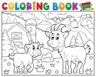 Coloring book happy goats near farm Royalty Free Stock Image