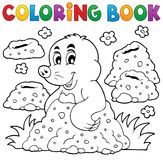 Coloring book with happy mole theme 1 Royalty Free Stock Images