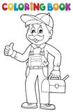 Coloring book happy plumber Royalty Free Stock Photo