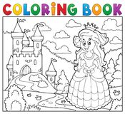 Coloring book happy princess near castle Stock Images