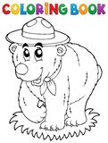 Coloring book happy scout bear Royalty Free Stock Photo