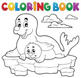 Coloring book happy seal with pup Royalty Free Stock Image