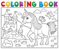 Coloring book happy unicorn topic 2. Eps10 vector illustration Stock Photography