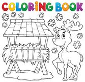 Coloring book hay rack and reindeer Stock Image