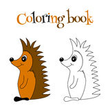 Coloring book with hedgehog stock photography